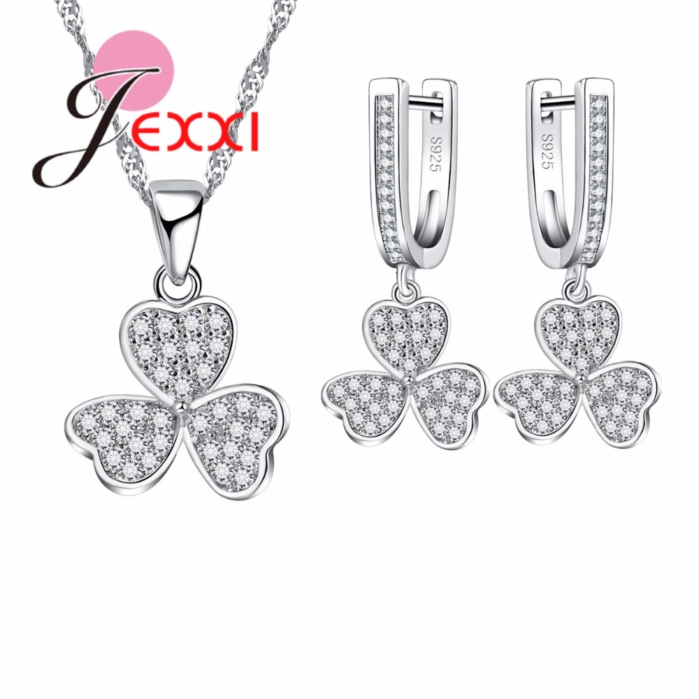 JEXXI Romantic Heart Flower Shape Micro Inlay Little CZ Crystal S90 Silver Jewelry Necklace Earrings Set for Women