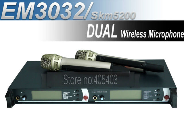 New product!! Free shipping EM3032 / SKM5200 Professional DUAL UHF /PLL Wireless Microphone System