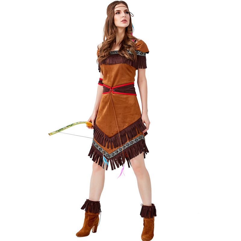 Native Indians Princess Goddess Of Tribe Role-playing Costume Cosplay Christmas Halloween Indians Party Costumes Facy Dress