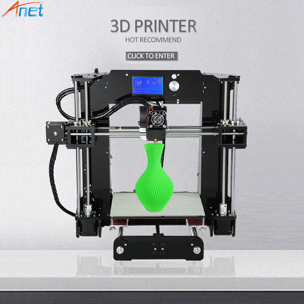 Newest ! Anet A6 A8 E10 3D Printer Large Printing Size Easy Assemble Precision Reprap i3 3D Printer Kit DIY with Free Filaments zonestar newest full metal aluminum frame big size 300mm x 300mm auto level laser engraving run out decect 3d printer diy kit
