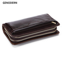 GENODERN Business Men Clutch Wallets Lucury Double Zipper Genuine Leather Long Purses Large Capacity Cowhide Wallet For Male