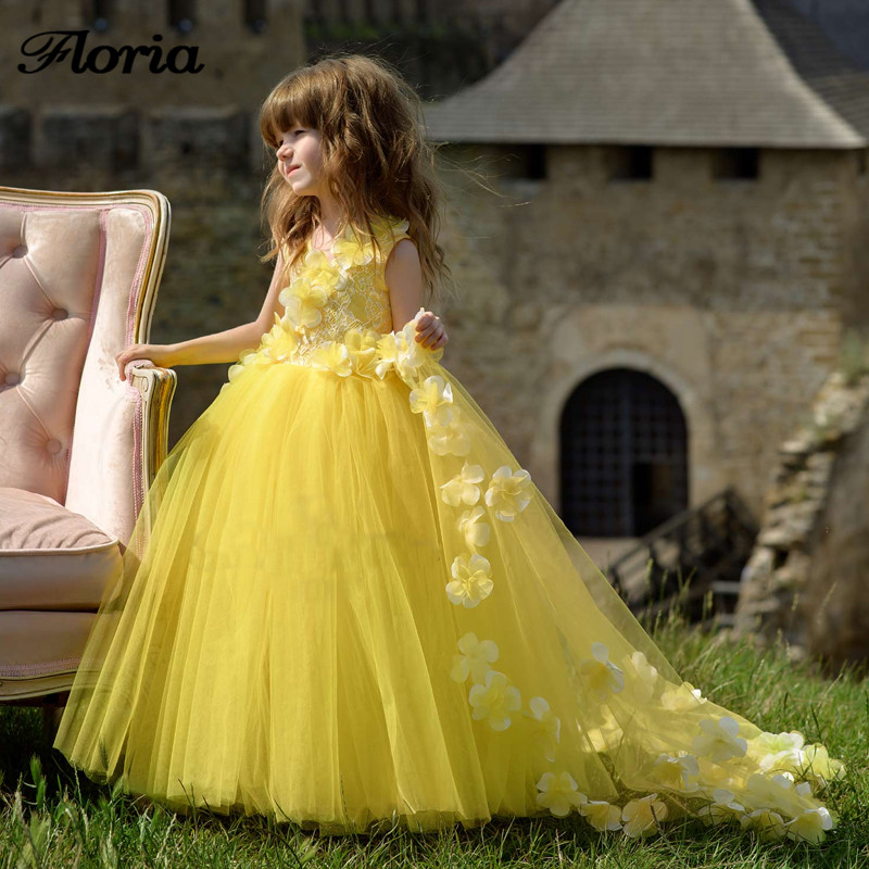 2018 New Arrivals   Flower   Yellow Lace Train   Flower     Girl     Dresses   For Weddings Vestidos Daminha First Communion   Dresses   For   Girls