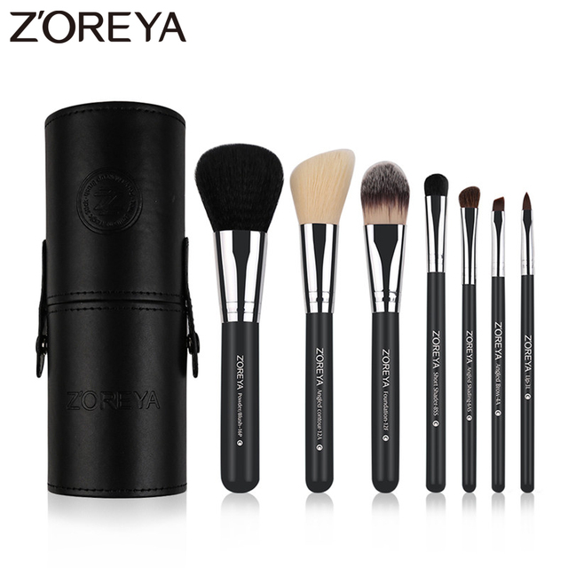 Zoreya Brand 7Pcs Black Natural Goat Hair Lip Professional Makeup Brushes Blush Powder Foundation Eye Shadow Makeup Tools Wool