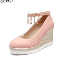 QZYERAI Spring 2018 simple high heel buckle flower metal decoration single shoes women's shoes rubber soles high heels size34 43