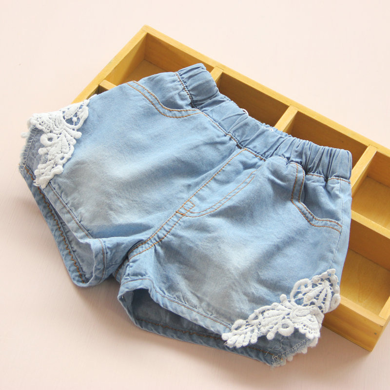 2021 Hot Summer Fashion Beauty Children Little Baby Kids Lace Edges Jeans Girls Denim Blue Shorts For 2 3 4 6 8 10 12 Years Old 1
