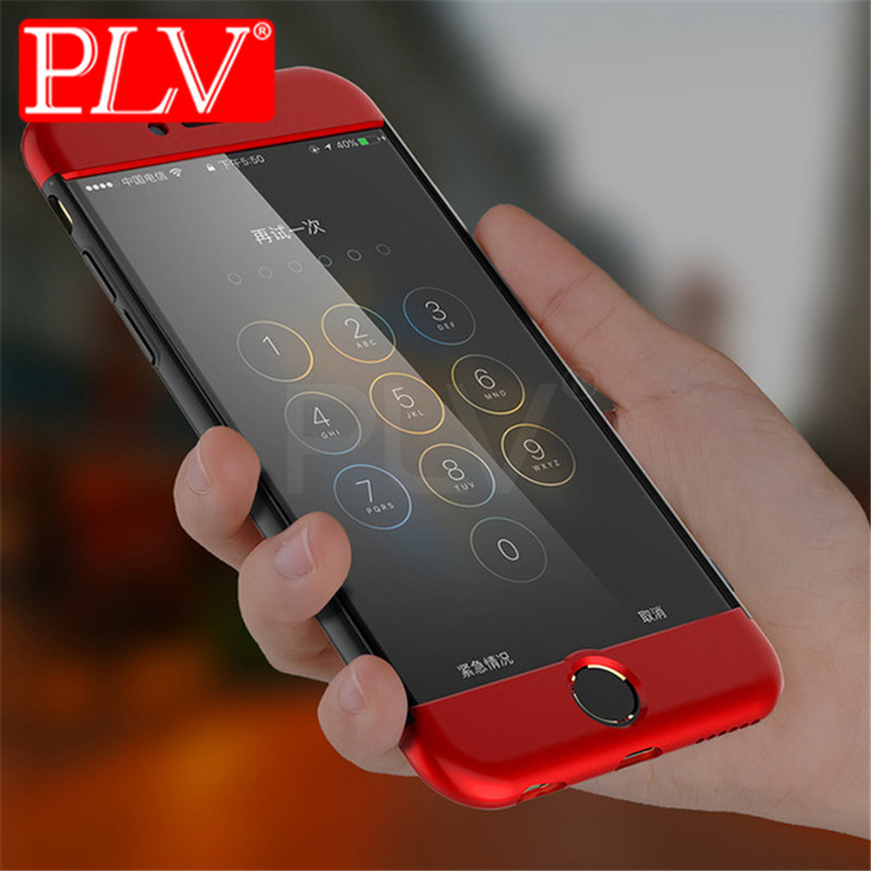 PLV 360 Degree Protection Case For iphone 6 6s plus 7 Cover Luxury Plastic Hard Shockproof Case For iphone 5 5S SE 7 Plus shell