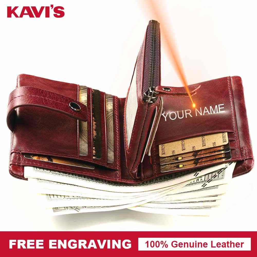 KAVIS Free Engraving Genuine Leather Wallet Women Coin Purse Small Gift Female Walet Portomonee Vallet Zipper Perse Name Engrave