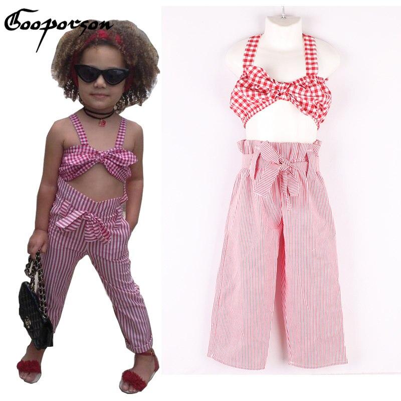 Новое поступление Модная одежда для девочек комплект розовый укороченный топ и длинные штаны Костюмы комплект для малышей в полоску с бант...