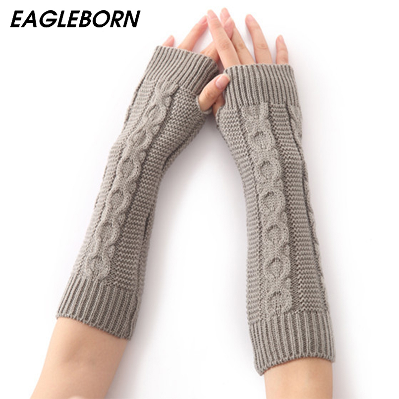 EAGLEBORN Women Winter Arm Warmers Fingerless Long Gloves Solid Warm Mittens Elbow Thread Knitted Sleeves 8cm*31cm Glove