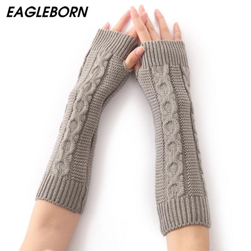 EAGLEBORN Women Winter Arm Warmers Fingerless Long Gloves Solid Warm Mittens Elbow Thread Knitted Sleeves 8cm*31cm Glove