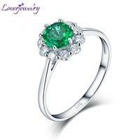 LOVERJEWELRY, модные кольца, твердые, 14 к, белое золото, настоящий бриллиант, натуральная круглая форма, изумрудные кольца с обещаниями для женщин,