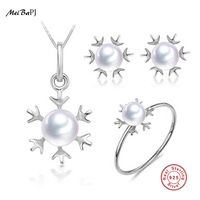 New Specials Natural Freshwater Pearls S925 Sterling Silver Snowflake Party Three Pieces Jewelry Set For Girl