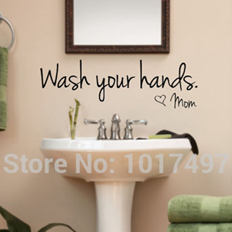 Aliexpress Com Buy Bathroom Wall Stickers Wash Your Hands Love Mom Waterproof Art Vinyl Decal Bathroom Wall Decor F2071 From Reliable Sticker Wall