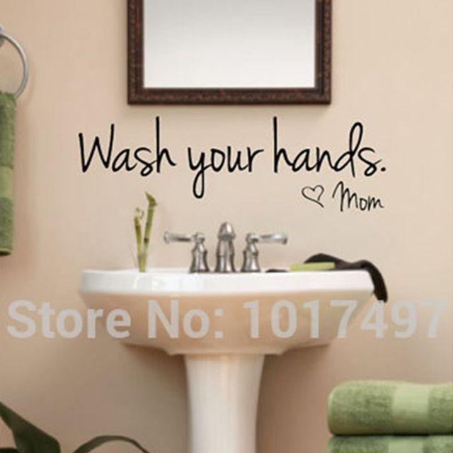 Bathroom Wall Stickers    Wash Your Hands Love Mom   Waterproof Art Vinyl Decal  Bathroom Part 33