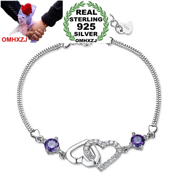OMHXZJ Wholesale Fashion High Quality AAA Zircon Amethyst 925 Sterling Silver Gift Women Shining Heart Bracelets Bangles SZ43OMHXZJ Wholesale Fashion High Quality AAA Zircon Amethyst 925 Sterling Silver Gift Women Shining Heart Bracelets Bangles SZ43