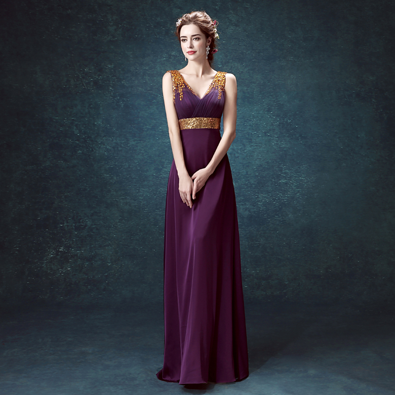 Perfect Style Gold Stones Long Purple Prom Dress Tulle V Neck