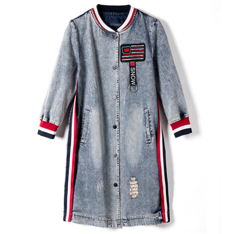 2017 New Women Jeans Trench Coat Spring Autumn Fashion O-Neck Denim Long Coat Single Breasted Outwear Thin Coats Female C69