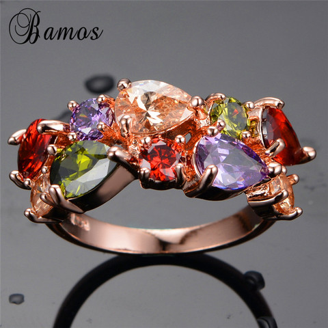 Bamos New Retro Geometric Multicolor & White AAA Zircon Rainbow Rings For Women Rose Gold Filled Wedding Jewelry Best Lover Gift Lahore