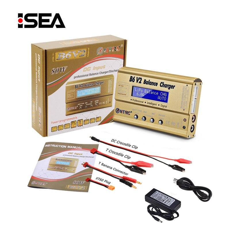 Chargeur d'équilibrage de batterie HTRC B6 V2 80 W avec adaptateur secteur 15 V 6A LiHV LiPo LiIon LiFe NiCd NiMH PB chargeur de batterie