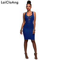 Lace Up Sleeveless Sexy Bodycon Bandage Dress Fashion Hollow Out O-Neck Sheath Summer Dress Women Cotton Casual Denim Dress