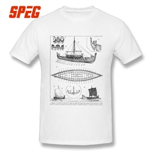Men T Shirts Vintage Viking Naval Ship History and Diagram Valhalla Man 100% Cotton Short Sleeve Tees Youth T-Shirts Creative