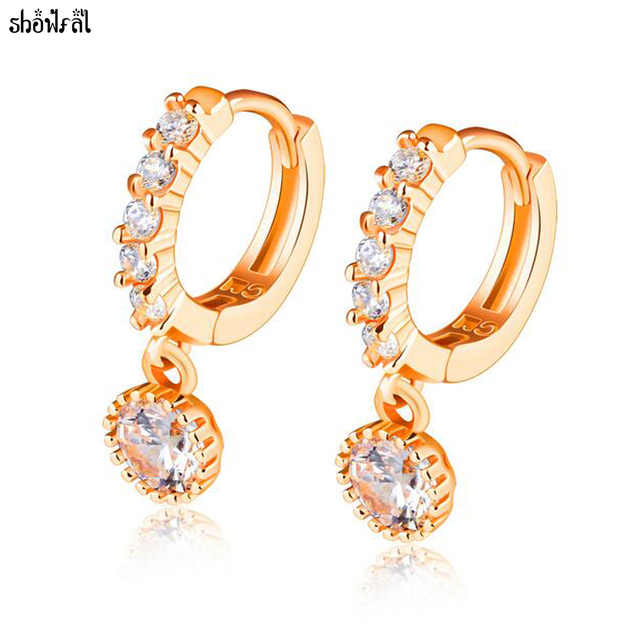 Crystals Round Zirconia Drop Earring Dangle Jewelry Stainless Steel Rose Gold Earrings For Women Wedding Brincos