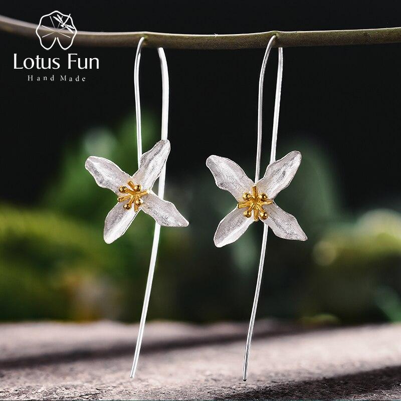 Lotus Fun Real 925 Plata de ley Natural hecha a mano fina joyería poético Vintage moda trébol pendientes para las mujeres Brincos
