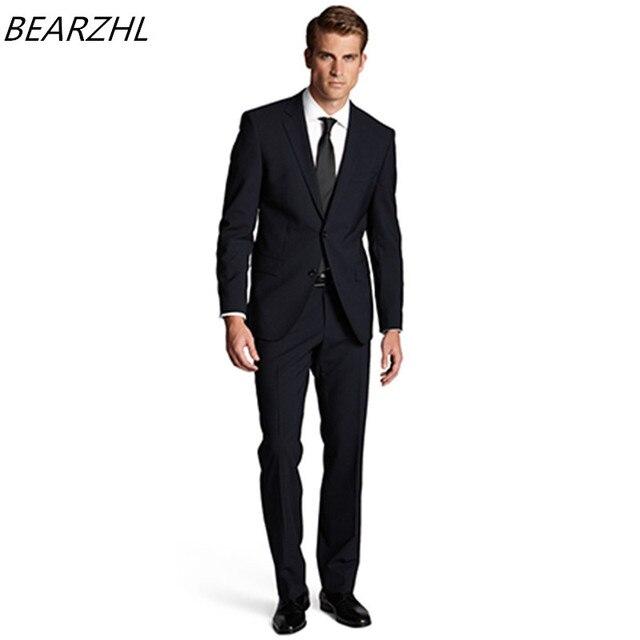 Preferenza Moderno slim fit vestito blu scuro groom smoking per abiti da uomo  EJ15