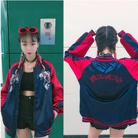 kpop BLACKPINK 2019 new Red embroidery zipper baseball sweatshirt women loose streetwear hoodies new popular baseball clothes