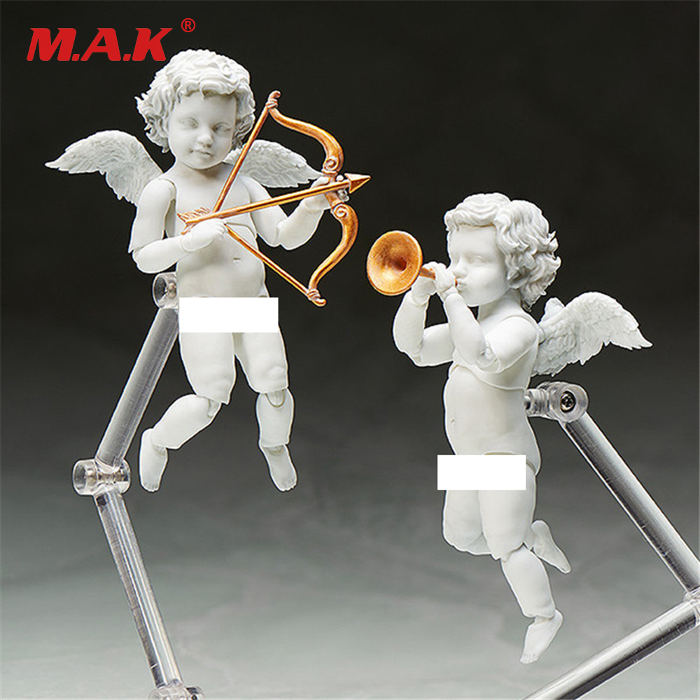 2pcs/set Cupid Action Figure  Angel Statue With Stand And Movable Joints Collectible Model Toys Brinquedos decoration sonny angel 6pcs set mini christmas series sonny angel dolls pvc action figure collectible model toy 8cm kt2530