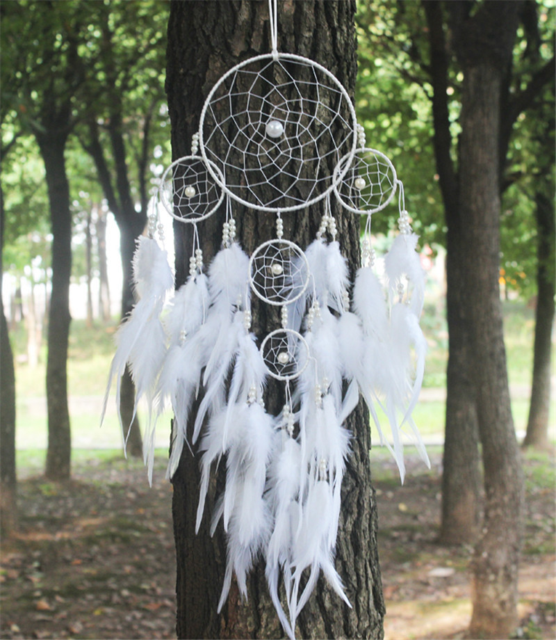 2015 New fashion originality big Hot white Dreamcatcher Wind Chimes Indian Style pearl Feather Pendant Dream Catcher Gift