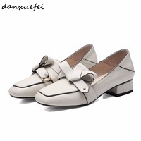 Women's genuine leather slip on flats mules brand designer square toe bow tie cute leisure comfort female footwear shoes on sale