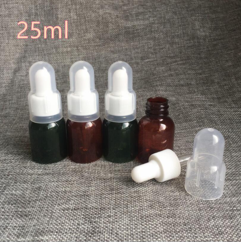 300 шт./лот 25 мл янтарная ПЭТ бутылка эфирного масла/контейнер с капельницей для глаз/насос, бутылка для лосьона