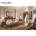 Последний двойной кожаный Индийский Деревянный ящик кровать дизайн в дереве из Фошань procare-6028