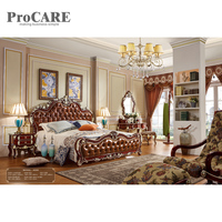 Latest double leather indian wooden box bed design in wood from foshan procare 6028