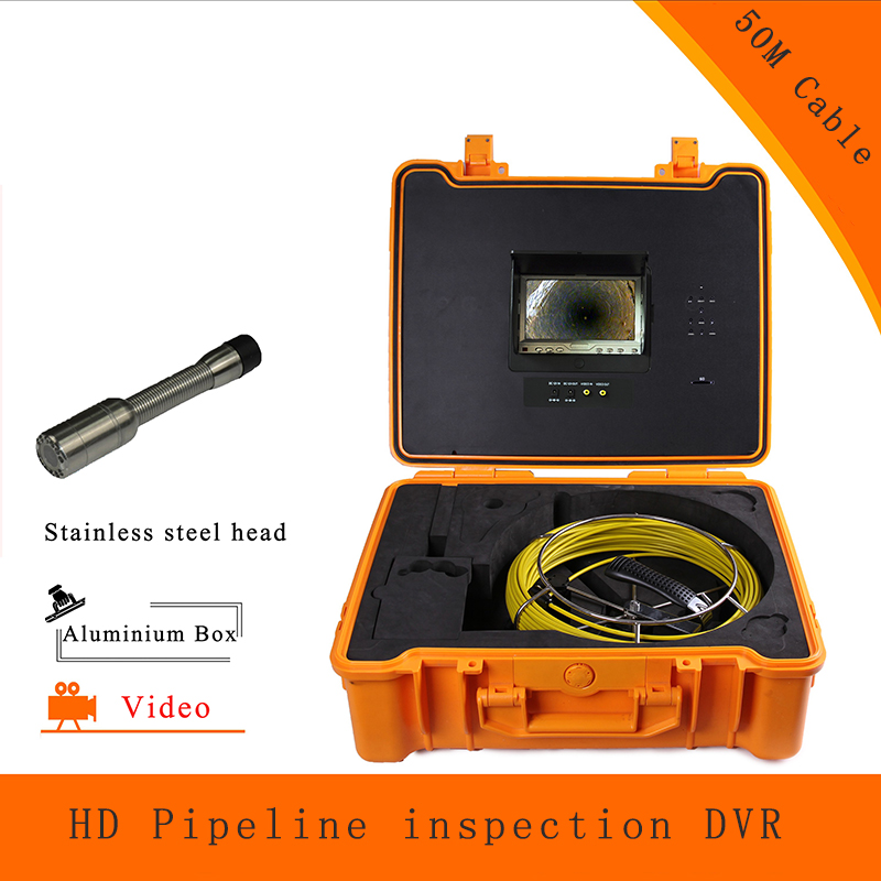 (1 set) 50M Cable Pipe Well Line Sewer Inspection Camera DVR HD 1100TVL Endoscope CMOS Lens Waterproof night version Borehole|endoscope cmos|camera dvr|inspection camera - title=