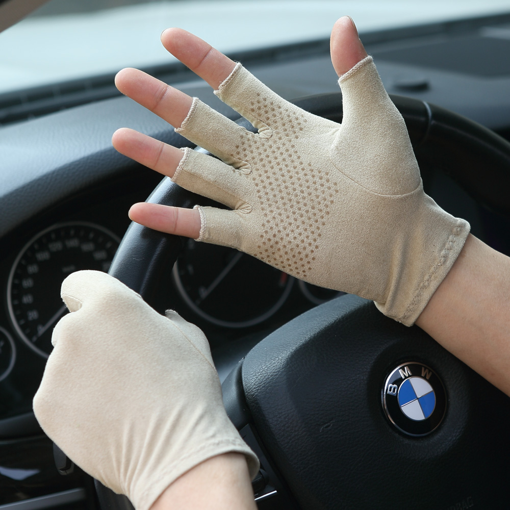Suede Summer Gloves Male Female Thin Semi-Finger Gloves Unisex Anti-Slip Breathable Sweat Absorption Driving Mittens SZ007W-9