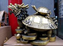 18″ China brass copper lucky two dragon turtle copper cash Sculpture Statue