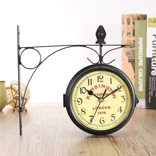 Charminer Black Vintage Decorative Double Sided Metal Wall Clock Station Wall Clock Wall Hanging Clock Metal Clock Top Quality