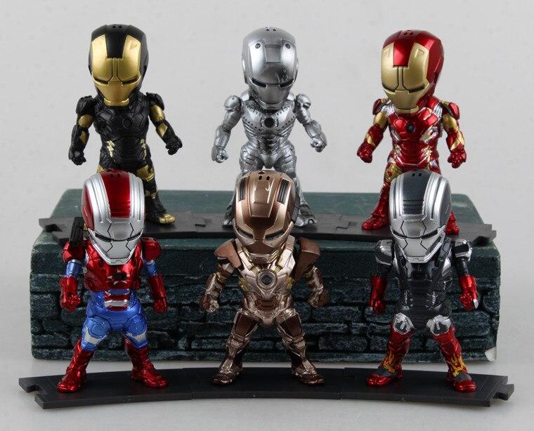 6 шт./лот 9 см на Железный человек 3 MK42 MK2 Яйцо атаки версии ПВХ светодио дный Light & фигурку коллекция игрушка модель