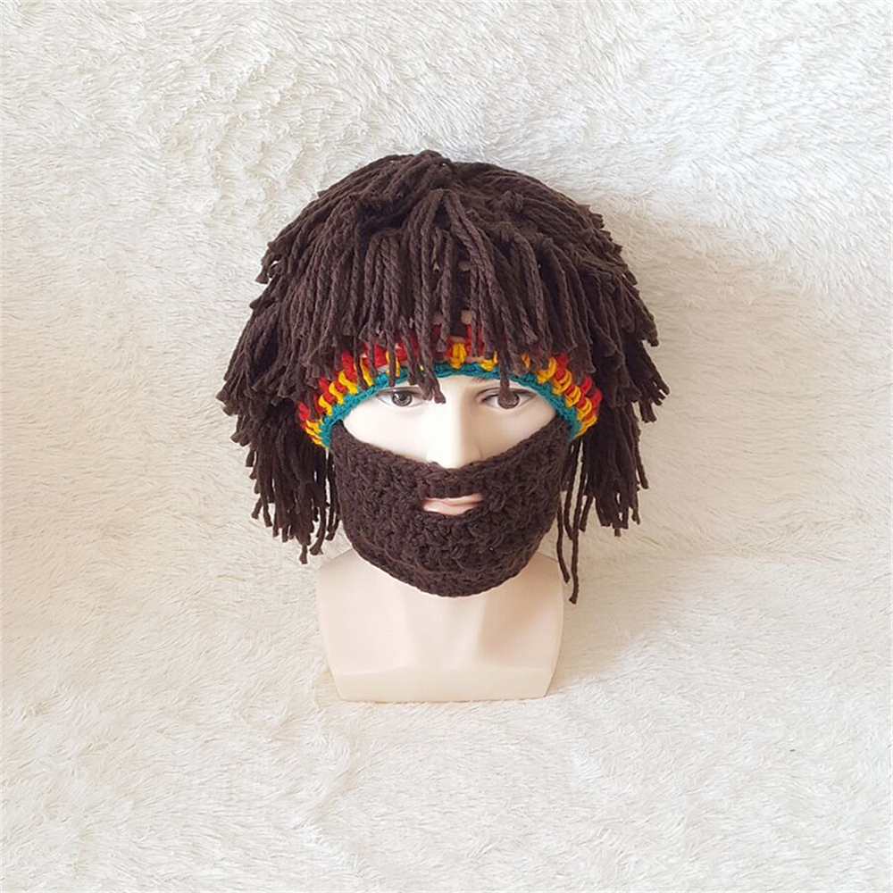 Funny Creative Handmade Hat Wig Big Beard Cap Cosplay Autumn And Winter Men And Women Hand-knitted Wool Hat Anime Good Heat Preservation