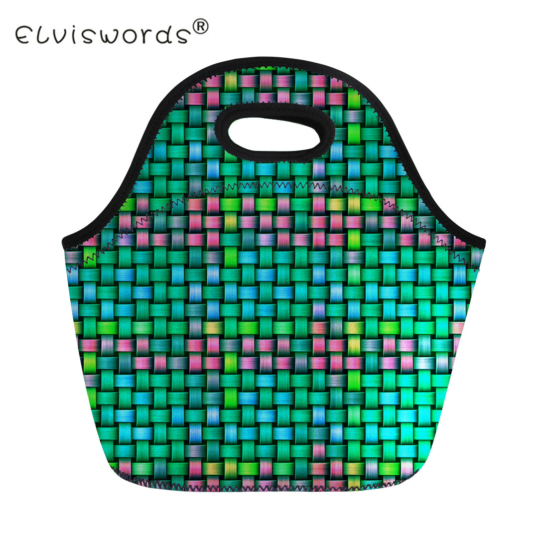 ELVISWORDS Insulated Lunch Bag Women Plaid Print Kids Children Portable Food Container Bag Girls Boys Thermal Picnic Lunch Bags