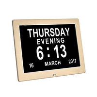 Digital Calendar Day Clock Metal Extra Large Numbers Impaired Vision Alarm Electronic Clock for Seniors Elderly Table Watch 8