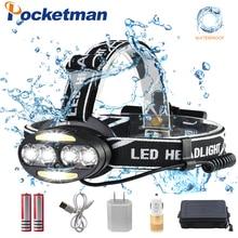 цена на Pocketman LED headlight 33000 Lumen headlamp 4*T6+2*COB+2*Red LED Head Lamp Flashlight Torch Lanterna with batteries charger