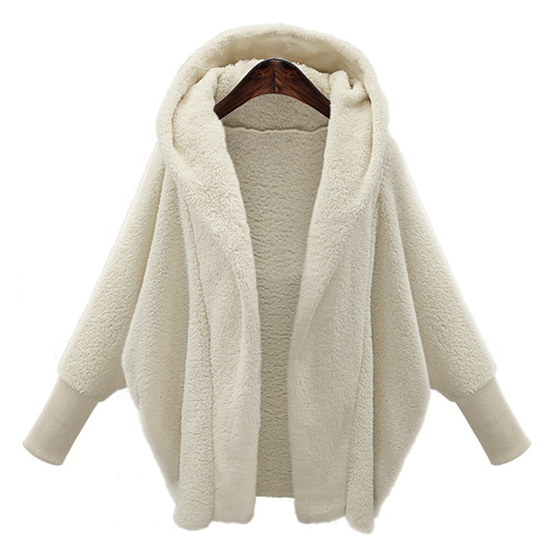 Women Faux Fur Hoodies Oversized Sweatshirts Coats Jackets 2019 Winter Casual Hooded Coat Warm Outerwear Female Long Sleeve Tops