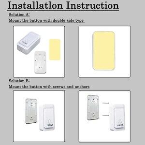 Image 5 - CACAZI sonnette sans fil auto alimentée lumière LED, étanche, sans batterie, sonnette pour maison, prise US ue UK, 38 anneaux, 1 bouton, 1 2 3 récepteurs