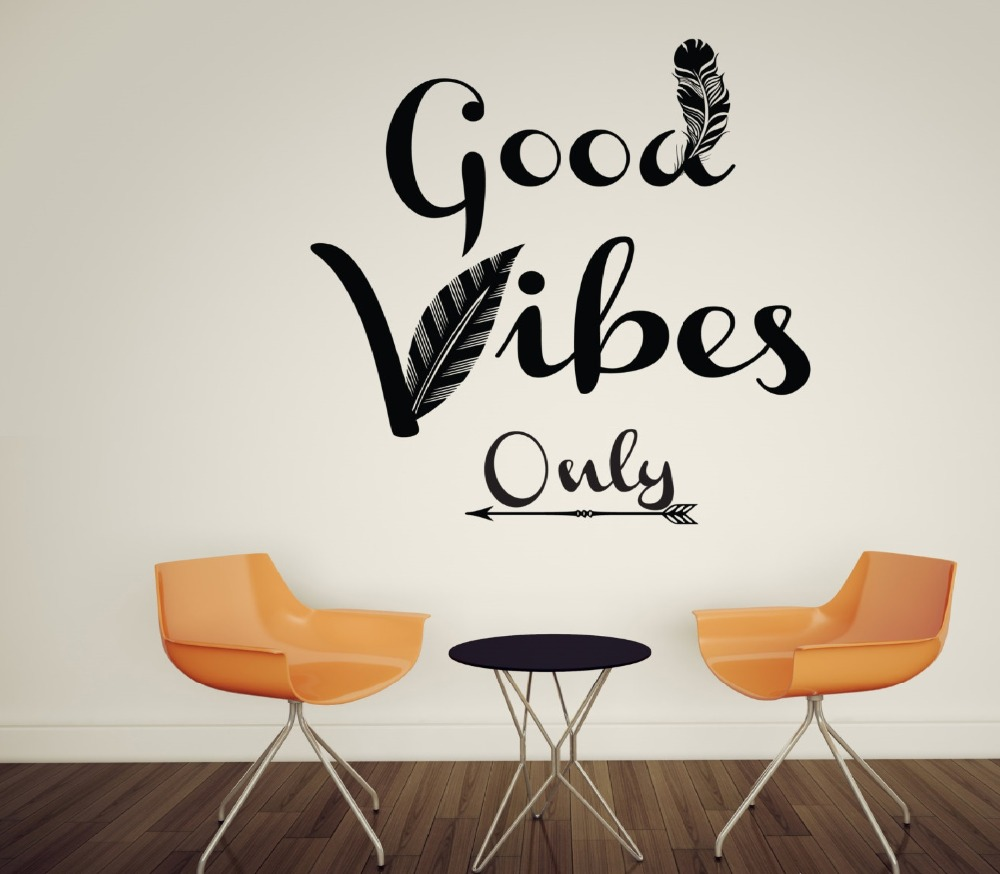 Good Vibes Only Feather Wall Decals Quotes Home Decor Living Room ...