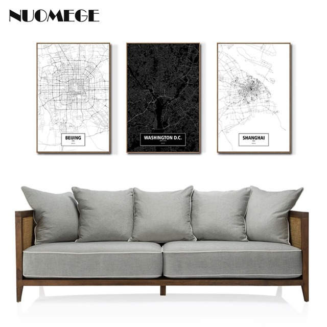 Black And White Canvas Painting Creative World China City Map Poster Nordic  Modern Decoration Wall Picture