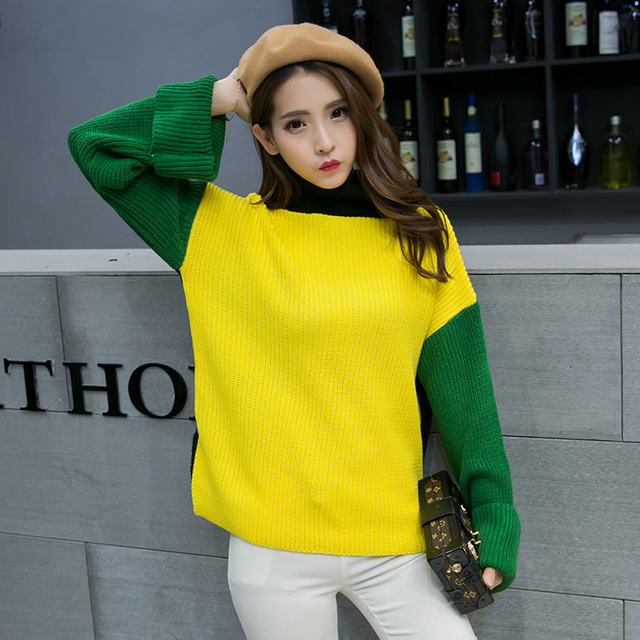 2017 spring new  fashion  Women Sweaters And Pullovers Female O-Neck Patchwork Color Block Pullover Knitted Sweater