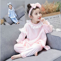 3Pcs Set Cute Baby Girls Clothes Winter Toddler Kids Solid Color Tshirt Pants Bow Hair Band